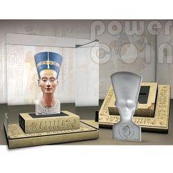 NEFERTITI 3D Sculptures Of Art Egypt Queen 3oz Silver Coin 25$ Solomon Islands 2013
