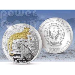 BLACK PANTHER Wildlife With Diamonds Plata Moneda Oro 3 Oz 1000 Francs Rwanda 2013