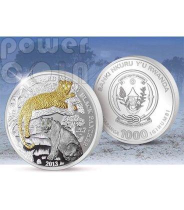 PANTERA NERA Wildlife With Diamonds Moneta 3 Oz Argento Oro Diamanti 1000 Franchi Ruanda 2013