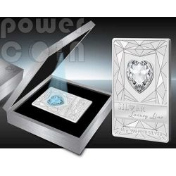 LUXURY LINE Blue Illumination Swarovski Silver Proof Coin 100 grams 20$ Cook Islands 2014