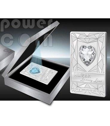 LUXURY LINE Blue Illumination Swarovski Silver Proof Coin 100 grams 20$ Cook Islands 2014