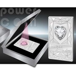 LUXURY LINE Red Illumination Swarovski Silver Proof Coin 100 grams 20$ Cook Islands 2014