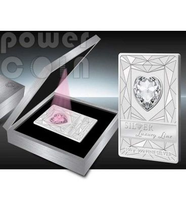 LUXURY LINE Red Illumination Swarovski Silver Proof Coin 100 grams 20$ Cook Islands 2014