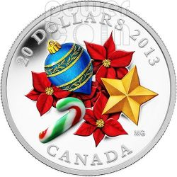 CANDY CANE Holiday Season Christmas Venetian Glass Murano Silver Coin 20$ Canada 2013