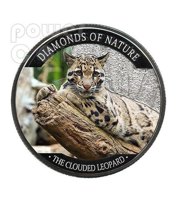 LEOPARDO NEBULOSO Diamanti Della Natura Clouded Leopard Moneta Argento 10$ Fiji 2013