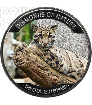 CLOUDED LEOPARD Diamonds Of Nature Silver Coin 10$ Fiji 2013