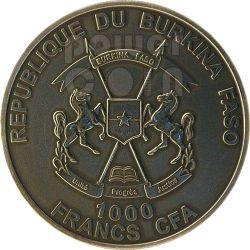 SMILODON Saber Toothed Tiger Prehistoric Animals 1 Oz Silver Coin 1000 Francs Burkina Faso 2013