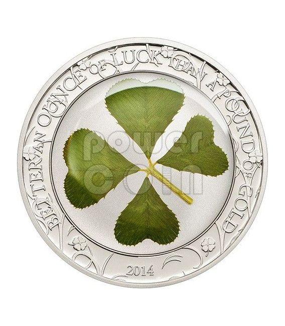 FOUR LEAF CLOVER Ounce Of Luck Silber Münze 1 Oz 5$ Palau 2014