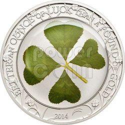 QUADRIFOGLIO PORTAFORTUNA Moneta Argento 5$ Palau 2014