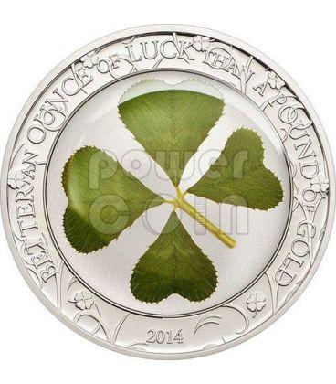 FOUR LEAF CLOVER Ounce Of Luck Silver Coin 1 Oz 5$ Palau 2014