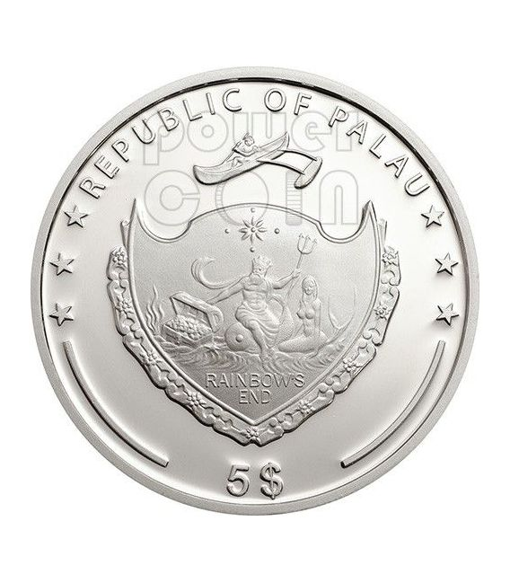 FOUR LEAF CLOVER Ounce Of Luck Moneda Plata 1 Oz 5$ Palau 2014