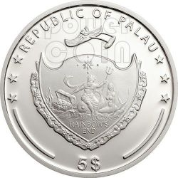 FOUR LEAF CLOVER Ounce Of Luck Silver Coin 1 Oz 5$ Palau 2014