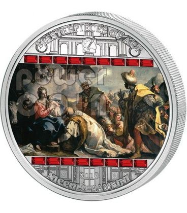 ADORAZIONE DEI MAGI Niccolo Bambini Masterpieces Of Art 3 Oz Moneta Argento 20$ Cook Islands 2013