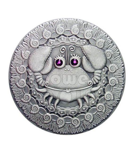 CANCER Horoscope Zodiac Swarovski Silber Münze Belarus 2009