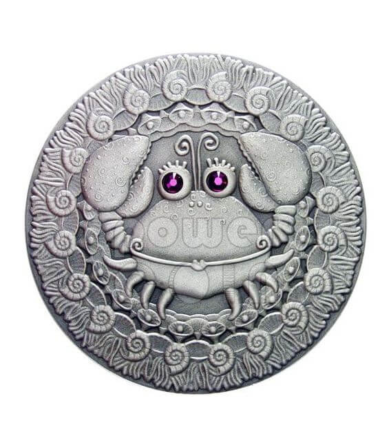 CANCER Horoscope Zodiac Swarovski Silver Coin Belarus 2009
