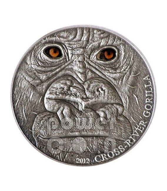 GORILLA DEL CROSS RIVER Real Eye Moneta Argento 1 Oz 1000 Franchi Camerun 2012