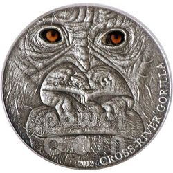 GORILLA DEL CROSS RIVER Real Eye Moneta Argento 1 Oz 1000 Franchi Camerun 2012