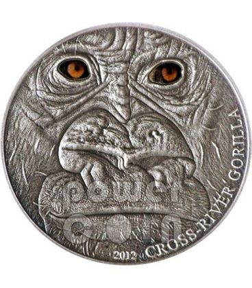 CROSS RIVER GORILLA Real Eye Effect Antique Finish 1 Oz Silver Coin 1000 Francs Cameroon 2012