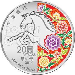 CAVALLO Horse Anno Lunare Zodiaco Cinese Moneta Argento 20 Patacas Macao 2014