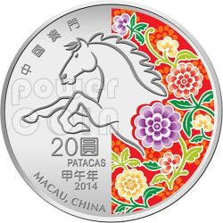 HORSE Lunar Year 1 Oz Silber Proof Münze 20 Patacas Macau 2014