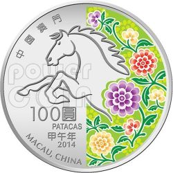 CAVALLO Horse Anno Lunare Zodiaco Cinese Moneta Argento 5 Oz 100 Patacas Macao 2014