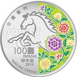 HORSE Lunar Year 5 Oz Silver Proof Coin 100 Patacas Macao Macau 2014