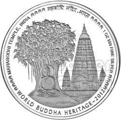 MAHABODHI TEMPLE India Buddha World Heritage Silver Coin Bhutan 2012