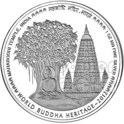 TEMPIO DI MAHABODHI India Buddha World Heritage Moneta Argento Bhutan 2012