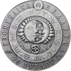 CANCER Horoscope Zodiac Swarovski Moneda Plata Belarus 2009