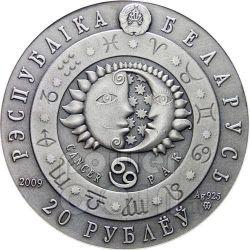 CANCRO Oroscopo Zodiaco Swarovski Moneta Argento Bielorussia 2009