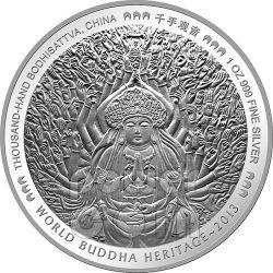 BODHISATTVA DALLE MILLE BRACCIA Buddha World Heritage Moneta Argento Bhutan 2013