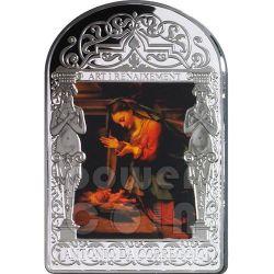 ADORATION OF THE CHILD Christmas Madonna Correggio Renaissance Серебро Монета 15D Андора 2013