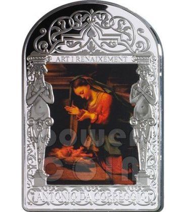 ADORATION OF THE CHILD Christmas Madonna Correggio Renaissance Silver Coin 15D Andorra 2013