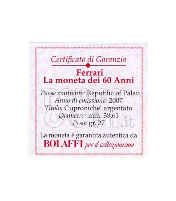 FERRARI F2007 60 Anniversario Moneta 1$ Palau 2007