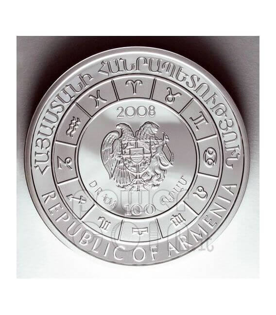 TAURUS Horoscope Zodiac Zircon Moneda Plata Armenia 2008