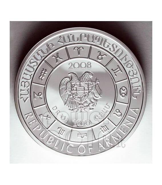 TAURUS Horoscope Zodiac Zircon Silber Münze Armenia 2008