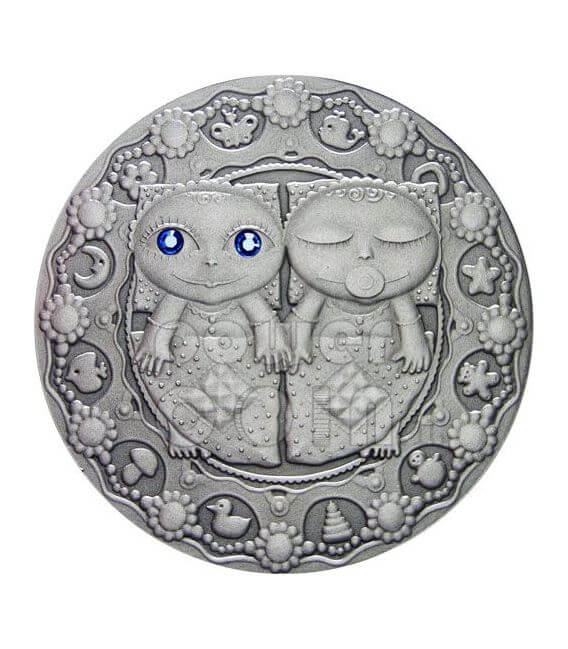 GEMINI Horoscope Zodiac Swarovski Silver Coin Belarus 2009