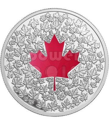 MAPLE LEAF IMPRESSION Red Enamel Silver Coin 20$ Canada 2013