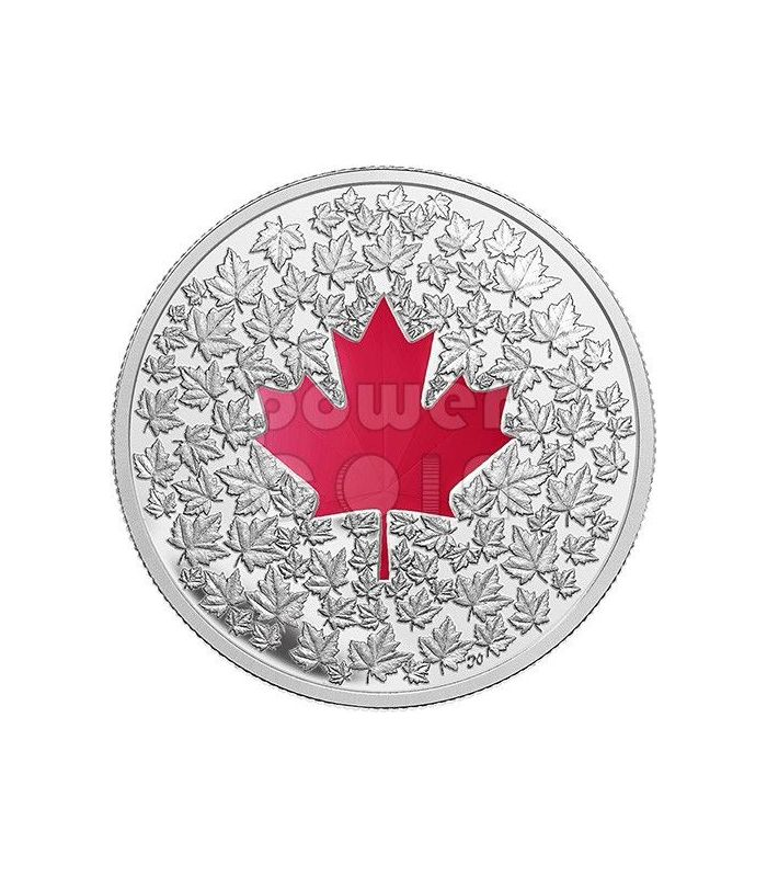 Maple Leaf Impression Red Enamel Silver Coin 20 Canada