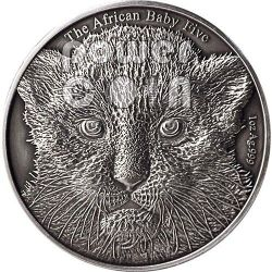 BABY LEOPARDO AFRICANO Leopard African Baby Five Moneta Argento 1 Oz 5000 Franchi Burundi 2014