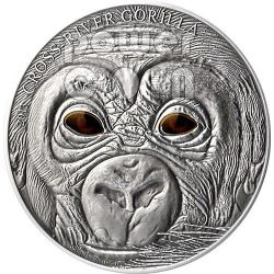 BABY CROSS RIVER GORILLA Real Eye Effect Antique Finish 1 Oz Silver Coin 1000 Francs Cameroon 2013