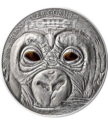 BABY GORILLA DEL CROSS RIVER Real Eye Moneta Argento 1 Oz 1000 Franchi Camerun 2013