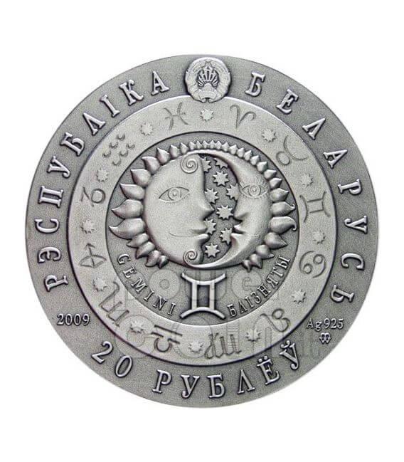 GEMELLI Oroscopo Zodiaco Swarovski Moneta Argento Bielorussia 2009