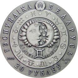 GEMINI Horoscope Zodiac Swarovski Серебро Монета Белоруссия 2009