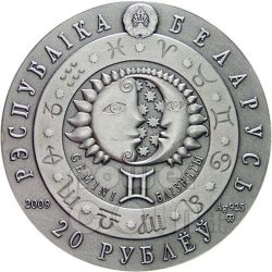 GEMINI Horoscope Zodiac Swarovski Silber Münze Belarus 2009