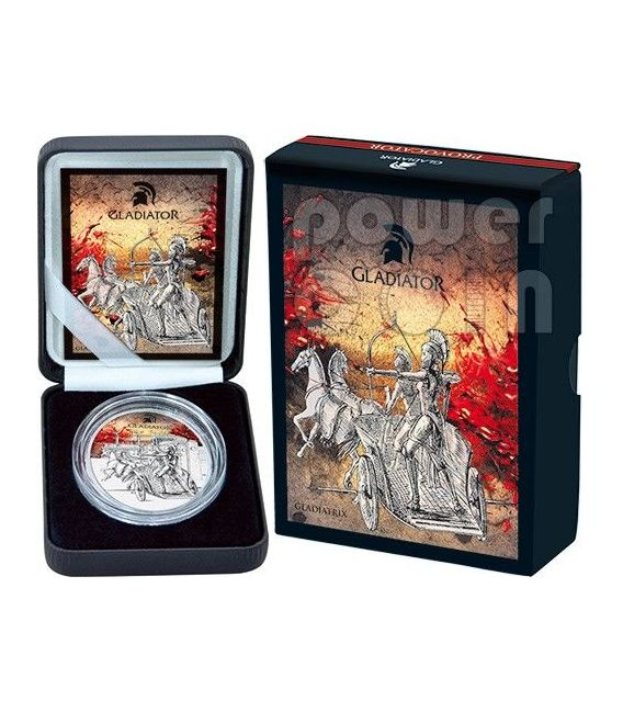GLADIATRICE Gladiatori Impero Romano Moneta Argento 1 Oz 10$ Fiji 2013