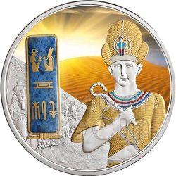 RAMSES II Egypt Pharaoh Plata Palladium Oro Dumortierite Gemstone Moneda 2 Oz 50$ Fiji 2013