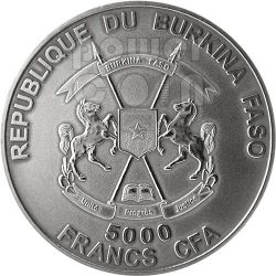 SMILODON Animali Preistorici Moneta Argento 4 Oz 5000 Franchi Burkina Faso 2013