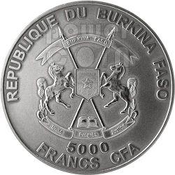 SMILODON Saber Toothed Tiger Prehistoric Animals 4 Oz Silver Coin 5000 Francs Burkina Faso 2013