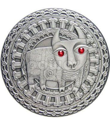 TORO Oroscopo Zodiaco Swarovski Moneta Argento Bielorussia 2009